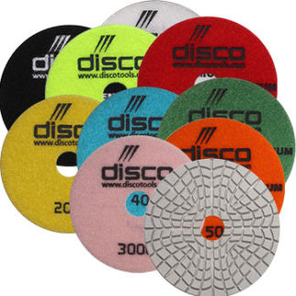 Disco 7 step wet polishing pad with B&W buff